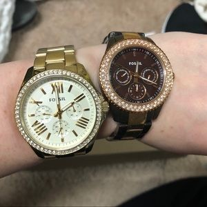 Two EUC Fossil crystal metal watches